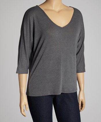 Charcoal Cutout V-Neck Sweater - Plus