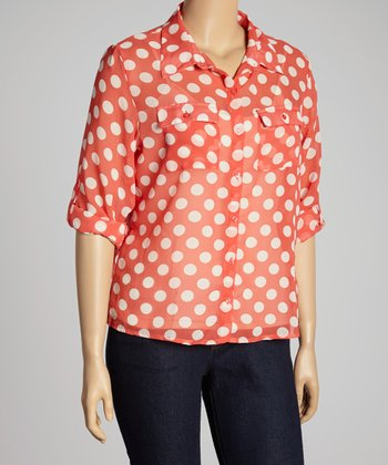 Coral & White Polka Dot Button-Up - Plus