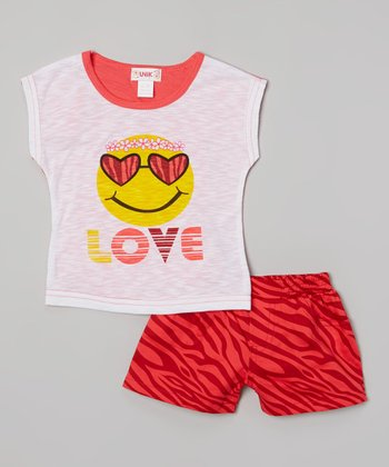 Red 'Love' Smiley Burnout Tee & Zebra Shorts - Toddler & Girls