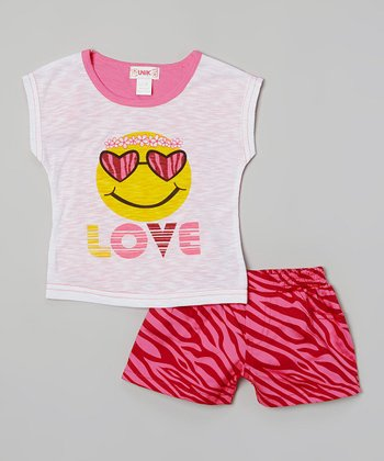 Pink 'Love' Smiley Burnout Tee & Zebra Shorts - Toddler & Girls