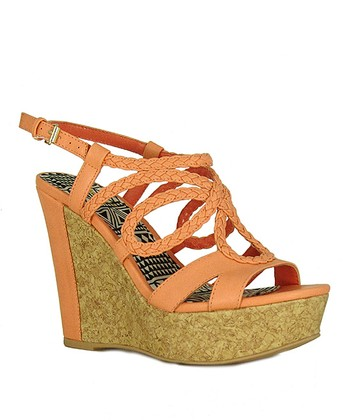 Peach Braided Clemence Wedge Sandal