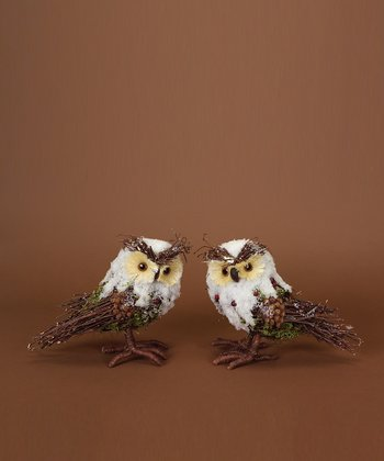 Iced Owl Figurine - Set of Two
