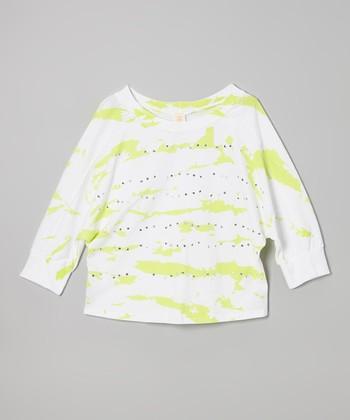 White & Green Urban Neon Rhinestone Top - Girls