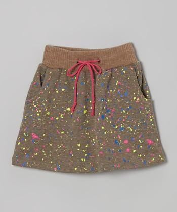 Gray Jewel Graffiti Splattered Skirt - Girls