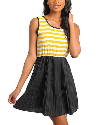 Black & Mustard Stripe Pleated Dress