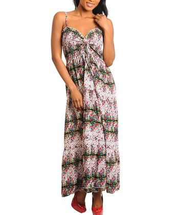 Green & White Floral Sweetheart Maxi Dress