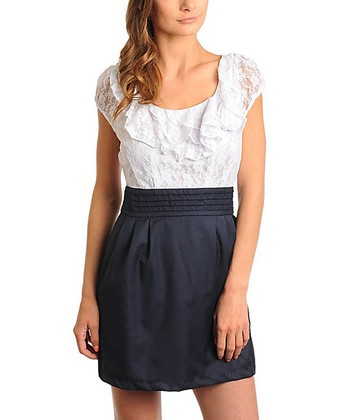 White & Navy Lace Ruffle Pleat Dress