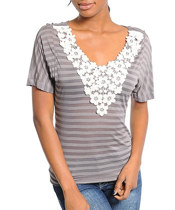 Gray Stripe Crocheted V-Neck Top
