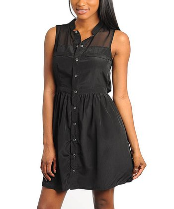 Black Button-Front Sheer-Yoke Sleeveless Dress