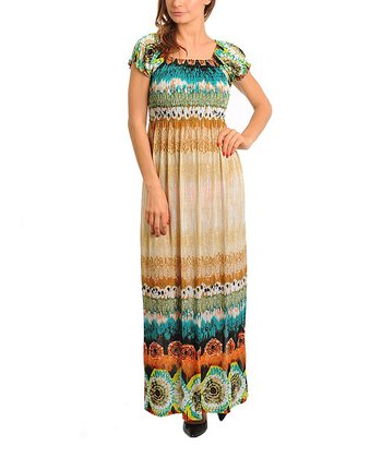 Tan & Orange Puff-Sleeve Maxi Dress