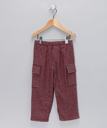 Rust Plaid Organic Cargo Pants - Infant & Boys
