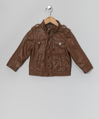 Brown Nappa Lamb Faux Leather Jacket - Toddler