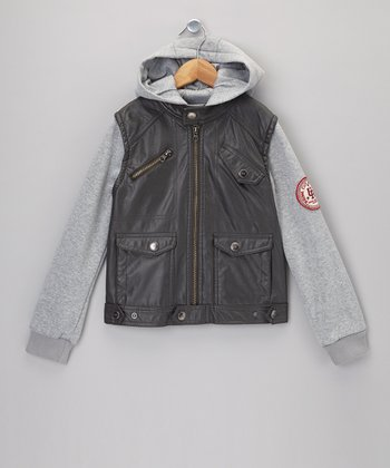 Charcoal 2-Fer Faux Leather & Fleece Jacket - Boys