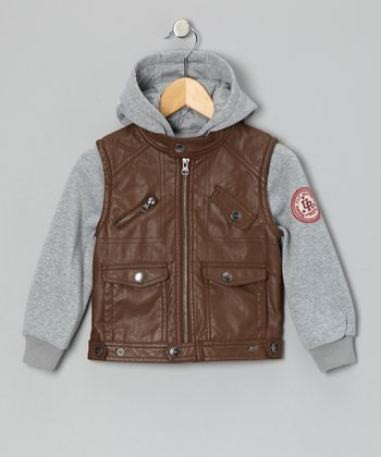 Gray & Brown Faux Leather Jacket - Toddler & Boys