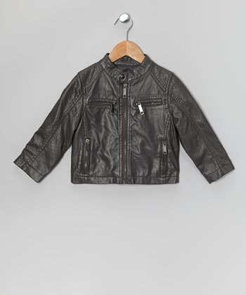 Charcoal Perforated Nappa Faux Leather Jacket - Boys