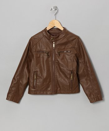 Brown Faux Leather Zipper Jacket - Toddler