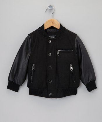 Black Faux Leather Varsity Jacket - Toddler & Boys