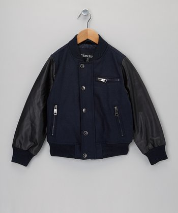Navy Faux Leather Varsity Jacket - Toddler & Boys