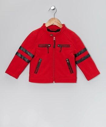Red & Black Stripe Soft Shell Moto Jacket - Boys