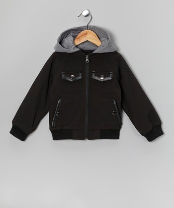 Black Soft-Shell Bomber Jacket - Toddler & Boys