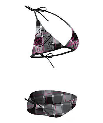 Level Six Razzberry Plaid Brooklyn Halter Bikini - Women
