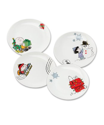 Vandor Peanuts Holiday Ceramic Plate Set