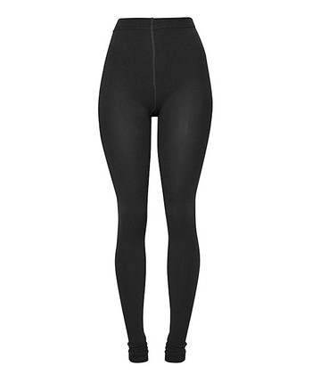 Black Fleece-Lined Footie Leggings