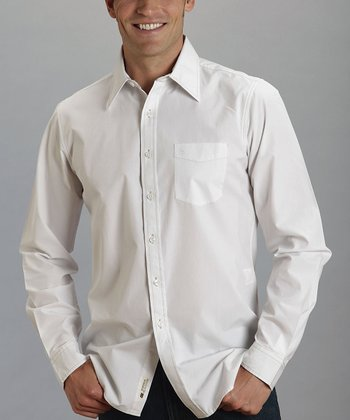 White Sanded Poplin Button-Up - Men