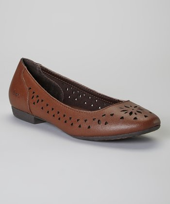 Mahogany Cosima Leather Flat