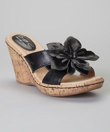 Black Fortune Wedge Leather Sandal