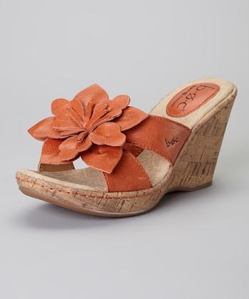 Nectar Orange Fortune Wedge Leather Sandal