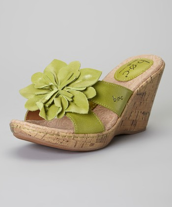 Spring Green Fortune Wedge Leather Sandal
