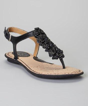 Black Foxglove Flower Leather Sandal