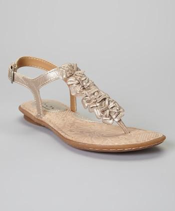 Champagne Foxglove Flower Leather Sandal