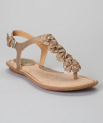 Sunbronze Foxglove Flower Leather Sandal