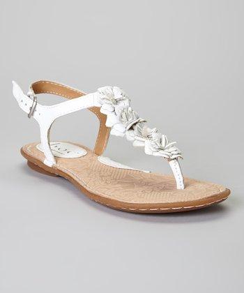 White Foxglove Flower Leather Sandal