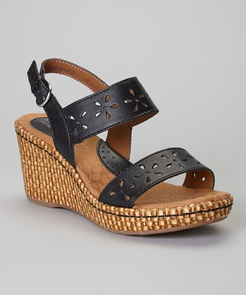 Black Hesperia Wedge Leather Sandal
