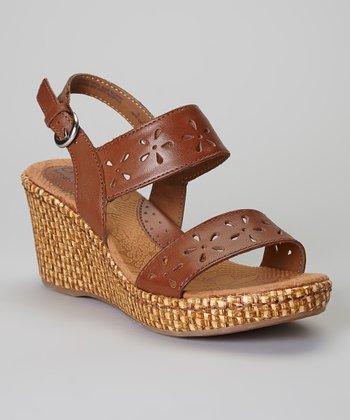 Saddle Hesperia Wedge Leather Sandal