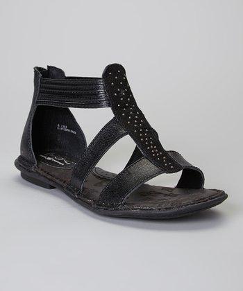 Black Kenza Gladiator Leather Sandal