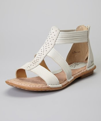 Pearly Gray & Cloud Kenza Gladiator Leather Sandal