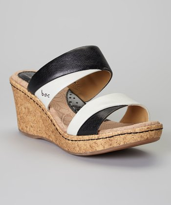 Black & Pearly Gray Landyn Leather Sandal