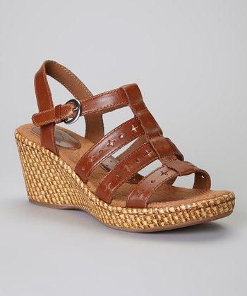 Saddle Lexy Wedge Leather Sandal
