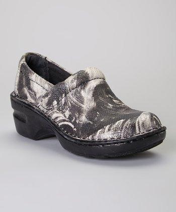 Black Art Deco Peggy Leather Clog
