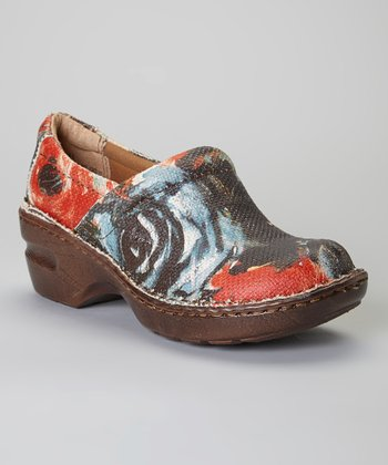 Coral Art Deco Peggy Leather Clog