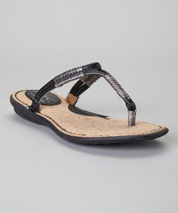 Black & Pewter Reverie Leather Sandal