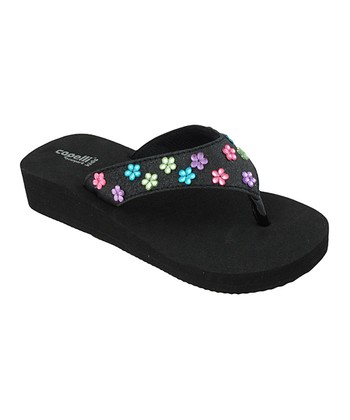 Black & Teal Daisy Gem Wedge Flip-Flop - Kids