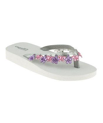 White & Purple Dangle Butterfly Flip-Flop - Kids