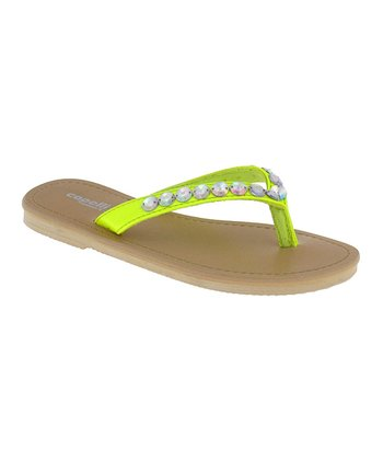 Yellow & Silver Gem Flip-Flop