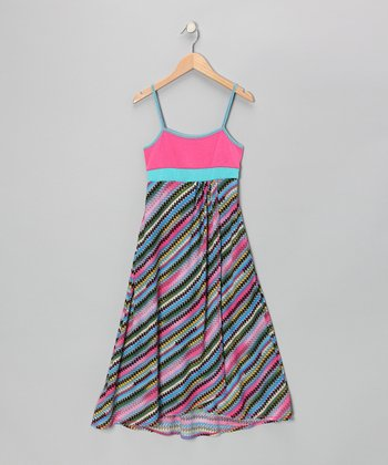 Turquoise & Coral Stripe Maxi Dress - Girls