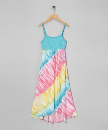 Blue & Pink Maxi Dress - Girls